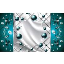 Fotobehang Papier Modern, Slaapkamer | Zilver, Turquoise | 368x254cm