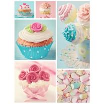 Fotobehang Papier Cupcake | Roze, Turquoise | 184x254cm