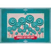 Fotobehang Papier Snoepjes | Turquoise | 254x184cm