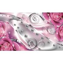 Fotobehang Papier Design, Rozen | Zilver, Roze | 368x254cm