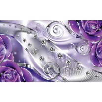 Fotobehang Design, Rozen | Zilver, Paars | 152,5x104cm