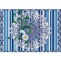 Fotobehang Papier Bloem, Strepen | Blauw | 254x184cm