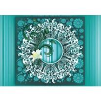 Fotobehang Papier Bloem, Modern | Turquoise | 254x184cm
