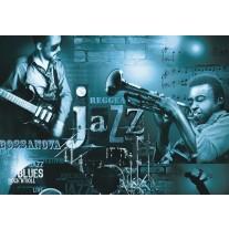 Fotobehang Papier Muziek, Jazz | Blauw | 254x184cm