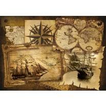 Fotobehang Papier Boot, Wereldkaart | Sepia | 368x254cm