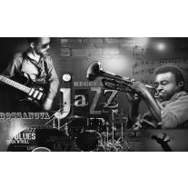 Fotobehang Papier Muziek, Jazz | Zwart, Wit | 368x254cm
