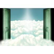 Fotobehang Papier Wolken | Groen | 254x184cm
