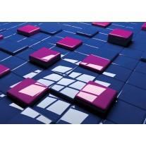 Fotobehang Papier 3D | Blauw, Roze | 254x184cm