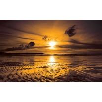 Fotobehang Papier Zee, Zonsondergang | Bruin | 254x184cm