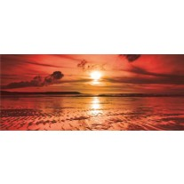 Fotobehang Zee, Zonsondergang | Rood | 250x104cm