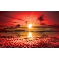 Fotobehang Papier Zee, Zonsondergang | Rood | 254x184cm