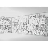 Fotobehang Papier 3D, Tekst | Grijs | 254x184cm