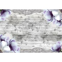 Fotobehang Papier Hout, Blomen | Paars | 254x184cm