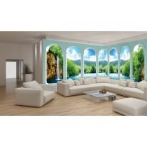 Fotobehang Vlies Natuur, Waterval | Groen | GROOT 832x254cm