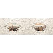 Fotobehang Vlies Muur, Steden | Crème | GROOT 624x219cm