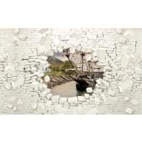 Fotobehang Papier Muur, Boot | Wit | 254x184cm
