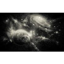 Fotobehang Papier Planeten | Zwart, Grijs | 254x184cm