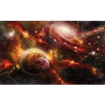 Fotobehang Papier Planeten | Oranje, Bruin | 254x184cm