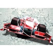 Fotobehang Papier Auto, Muur | Rood | 254x184cm