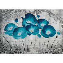 Fotobehang Papier Bloemen, Klaproos | Turquoise | 368x254cm