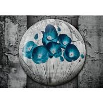 Fotobehang Papier Bloemen, Klaproos | Turquoise | 254x184cm