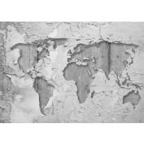 Fotobehang Papier Wereldkaart, Muur | Grijs | 368x254cm