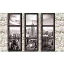 Fotobehang Papier Skyline, Muur | Grijs | 254x184cm