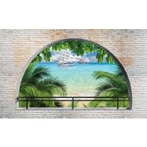 Fotobehang Papier Natuur, Strand | Groen, Blauw | 254x184cm