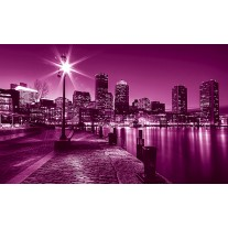 Fotobehang Papier Skyline | Roze, Paars | 254x184cm