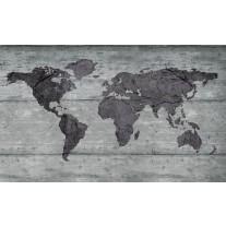 Fotobehang Papier Wereldkaart, Hout | Grijs | 254x184cm
