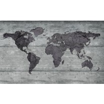 Fotobehang Papier Wereldkaart, Hout | Grijs | 368x254cm