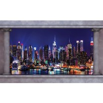 Fotobehang Papier Skyline | Blauw | 254x184cm