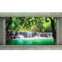 Fotobehang Papier Waterval, Natuur | Groen | 254x184cm