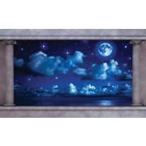 Fotobehang Papier Nacht, Maan | Blauw | 254x184cm