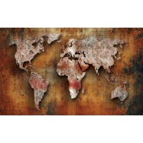 Fotobehang Papier Wereldkaart | Bruin, Oranje | 254x184cm