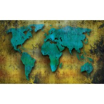 Fotobehang Papier Wereldkaart | Turquoise, Groen | 368x254cm