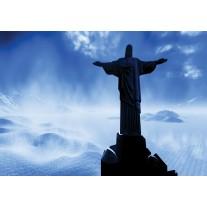 Fotobehang Papier Brazilië, Jezus | Blauw, Zwart | 254x184cm