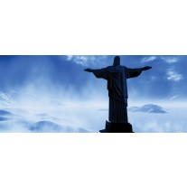 Fotobehang Brazilië, Jezus | Blauw, Zwart | 250x104cm