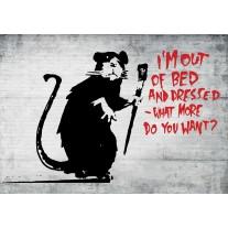 Fotobehang Papier Street Art | Zwart, Rood | 254x184cm