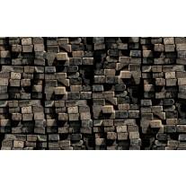 Fotobehang Papier 3D, Hout | Grijs | 254x184cm