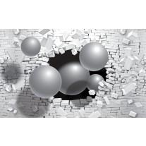 Fotobehang Papier 3D, Muur | Zilver | 254x184cm
