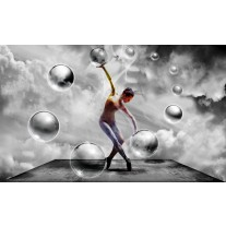Fotobehang Papier 3D, Dansen | Grijs | 254x184cm