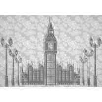 Fotobehang Papier Big Ben | Grijs | 254x184cm