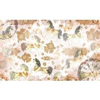 Fotobehang Papier Paarden | Bruin, Crème | 368x254cm