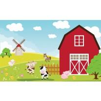 Fotobehang Papier Kinderboerderij | Rood, Groen | 368x254cm