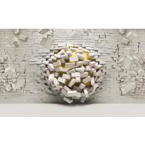 Fotobehang Papier 3D, Muur | Geel, Crème | 368x254cm