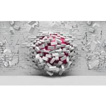 Fotobehang Papier 3D, Muur | Roze, Grijs | 254x184cm