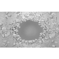 Fotobehang Papier Muur, 3D | Grijs | 254x184cm