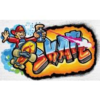 Fotobehang Graffiti | Blauw, Oranje | 152,5x104cm