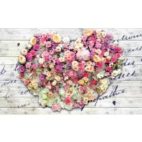 Fotobehang Papier Bloemen, Hart | Roze | 254x184cm
